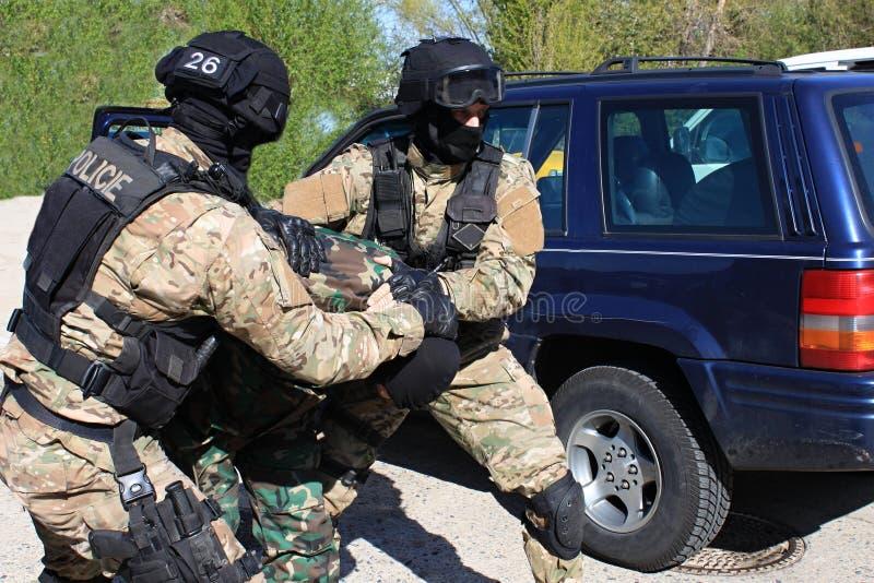 Οι ειδικοί καταδρομείς αστυνομίας συλλαμβάνουν έναν τρομοκράτη στοκ εικόνα