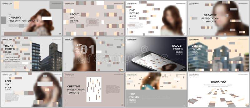 Οι ελάχιστες παρουσιάσεις σχεδιάζουν, διανυσματικά πρότυπα χαρτοφυλακίων με τα ζωηρόχρωμα στοιχεία, ορθογώνια, υπόβαθρα κλίσης ελεύθερη απεικόνιση δικαιώματος