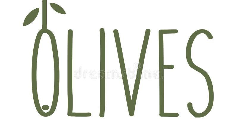 Οι ελιές λεπταίνουν το έμβλημα γραμμών Πράσινο κλαδί ελιάς με τα φύλλα Γαστρονομικό πρότυπο λογότυπων έννοιας τροφίμων ασυνήθιστο διανυσματική απεικόνιση