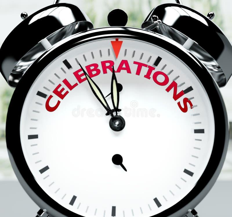 Οι εορτασμοί σύντομα, σχεδόν εκεί, σε σύντομο χρόνο - ένα ρολόι συμβολίζει μια υπενθύμιση ότι οι εορτασμοί είναι κοντά, θα συμβού ελεύθερη απεικόνιση δικαιώματος