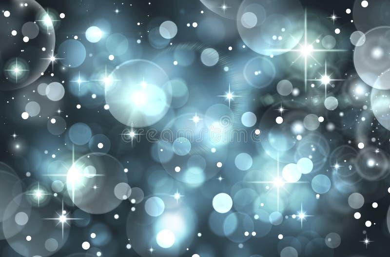 Οι εορταστικοί θολωμένων bokeh μπλε, μαύρων, άσπρων και μπλε κύκλοι υποβάθρου, ακτινοβολούν, ελαφριά επίδραση, φωτεινή, κόμμα, δι ελεύθερη απεικόνιση δικαιώματος