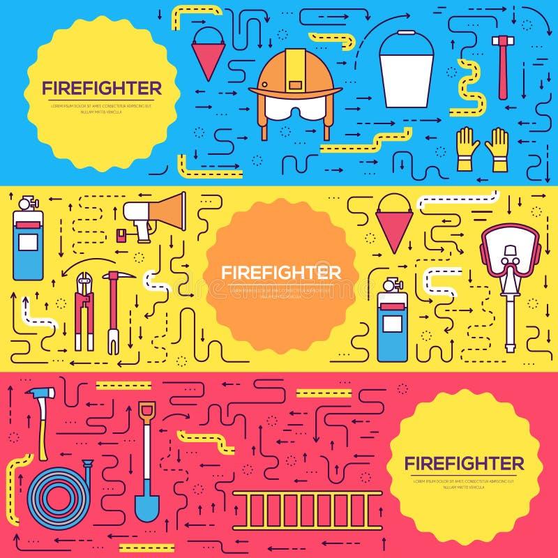 Οι επίπεδες κάρτες φυλλάδιων πυροσβεστών ομοιόμορφες διανυσματικές λεπταίνουν το σύνολο γραμμών πρώτα πρότυπο βοήθειας flyear, πε απεικόνιση αποθεμάτων