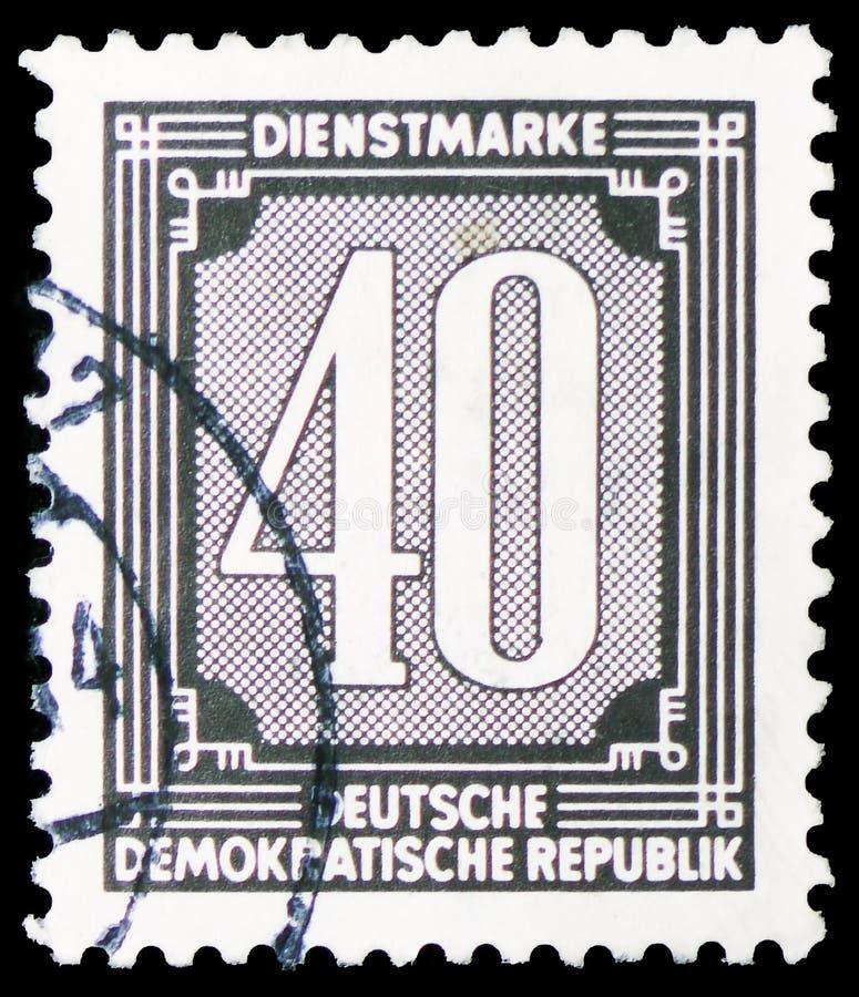 Οι επίσημες σφραγίδες για τη διοίκηση ταχυδρομούν το ανάτυπο Α (ZKD) (ι), ψηφία serie, circa το 1956 στοκ φωτογραφία με δικαίωμα ελεύθερης χρήσης