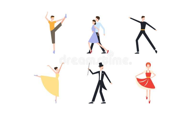 Οι επαγγελματικοί κλασσικοί και σύγχρονοι χοροί χορού χορευτών καθορισμένοι, ο νεαρός άνδρας και η γυναίκα έντυσαν στην κομψή εκτ διανυσματική απεικόνιση