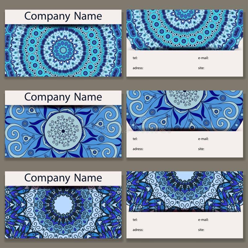 οι επαγγελματικές κάρτ&epsil Εκλεκτής ποιότητας σχέδιο στο αναδρομικό ύφος με το mandala ελεύθερη απεικόνιση δικαιώματος