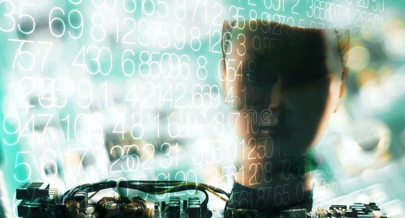 Οι επικεφαλής δοκιμές ρομπότ, ψηφία και το υπόβαθρο τεχνολογίας στοκ εικόνες