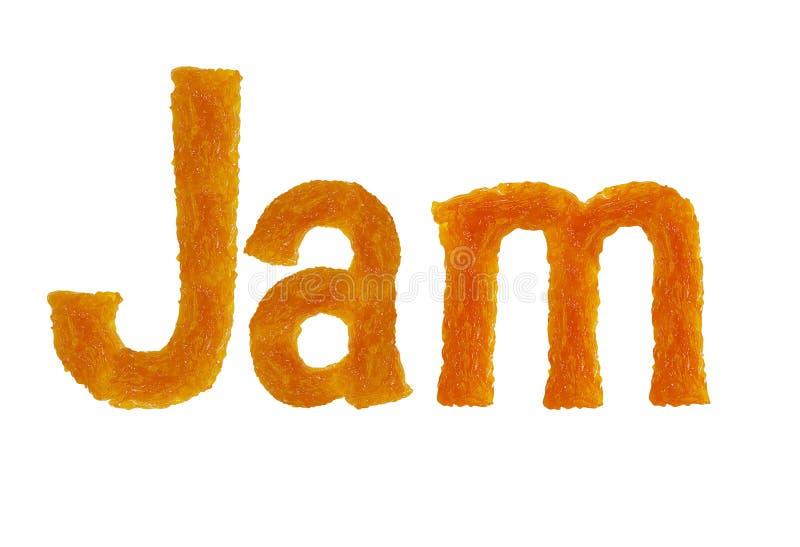 Οι επιστολές μαρμελάδας λέξης που απομονώνονται στο άσπρο υπόβαθρο στοκ φωτογραφίες