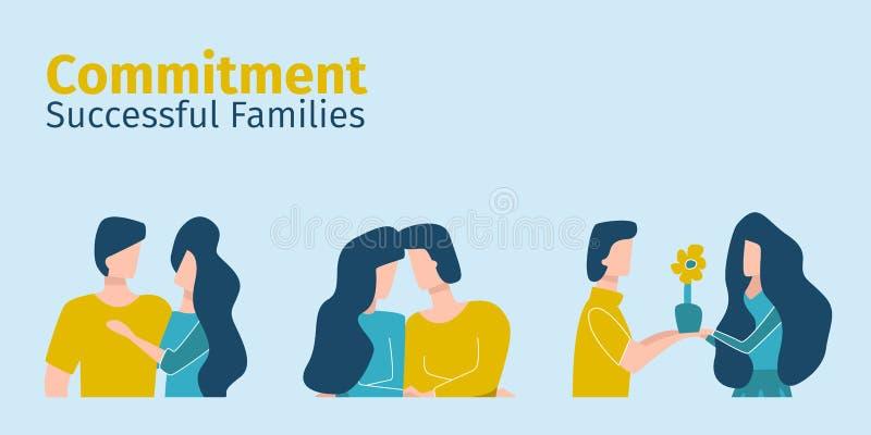 Οι επιτυχείς οικογένειες παρουσιάζουν αφοσίωση ο ένας στον άλλο διανυσματική απεικόνιση