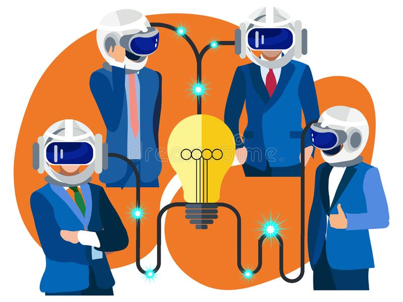 Οι επιχειρηματίες ανταλλάσσουν τις ιδέες Μεταφορά των σκέψεων από ένα άτομο σε άλλο Στο μινιμαλιστικό ύφος Επίπεδο isometric διάν ελεύθερη απεικόνιση δικαιώματος