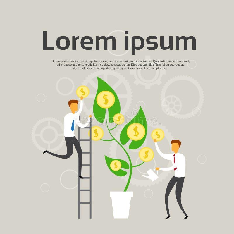 Οι επιχειρηματίες αυξάνονται το δέντρο χρημάτων με την έννοια κέρδους επιτυχίας νομισμάτων διανυσματική απεικόνιση