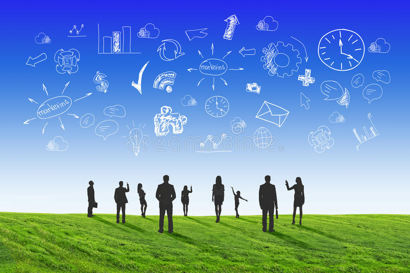 οι επιχειρηματίες θέτουν τις σκιαγραφίες απεικόνιση αποθεμάτων