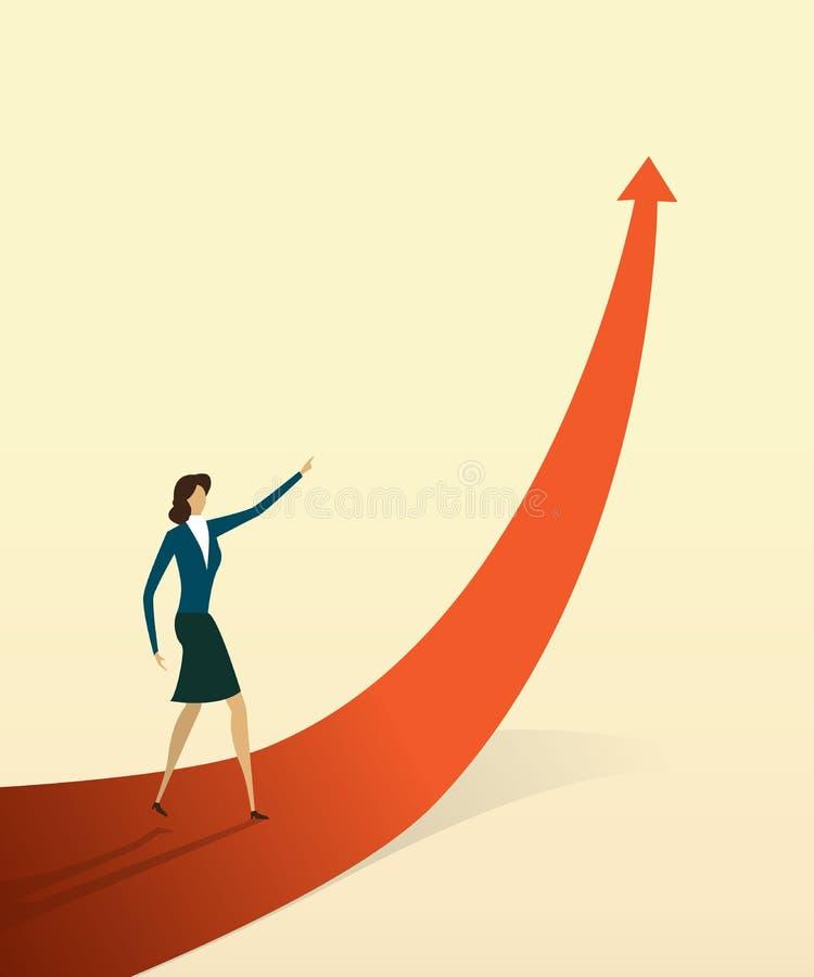 Οι επιχειρηματίες με στο βέλος πηγαίνουν πορεία στο στόχο ή στόχος, σύμβολο της έννοιας αύξησης απεικόνιση αποθεμάτων