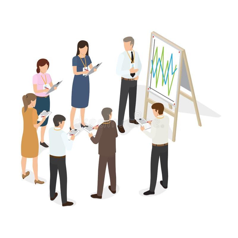 Οι επιχειρηματίες με την ταμπλέτα γράφουν τις αλλαγές σε χαρτί διανυσματική απεικόνιση