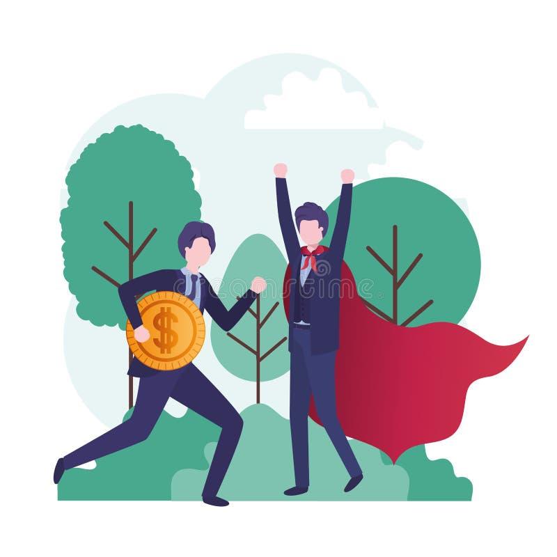 Οι επιχειρηματίες με το ήρωα ντύνουν και νόμισμα απεικόνιση αποθεμάτων