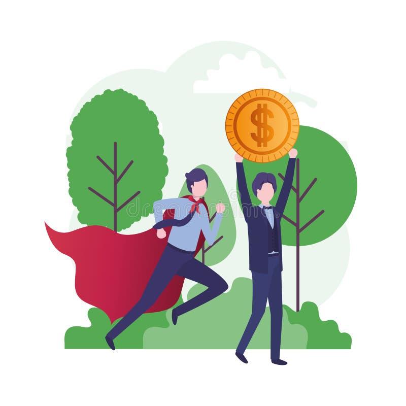 Οι επιχειρηματίες με το ήρωα ντύνουν και νόμισμα διανυσματική απεικόνιση