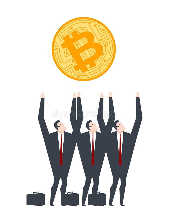 Οι επιχειρηματίες πιάνουν bitcoin Διανυσματική απεικόνιση Cryptocurrency Crypto ανταλλαγή απεικόνιση αποθεμάτων