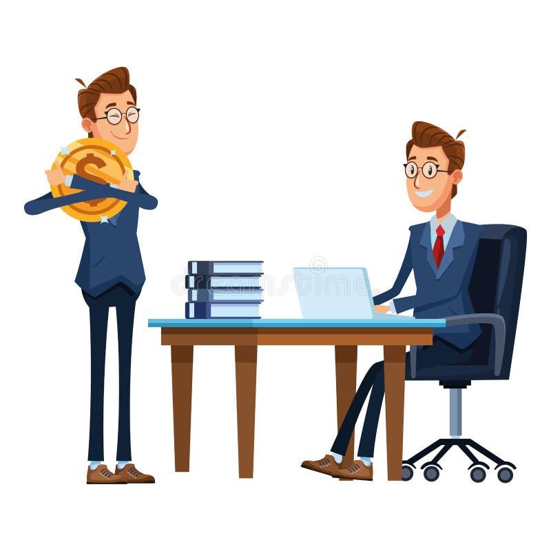 Οι επιχειρηματίες που κάθονται σε ένα γραφείο προεδρεύουν ελεύθερη απεικόνιση δικαιώματος