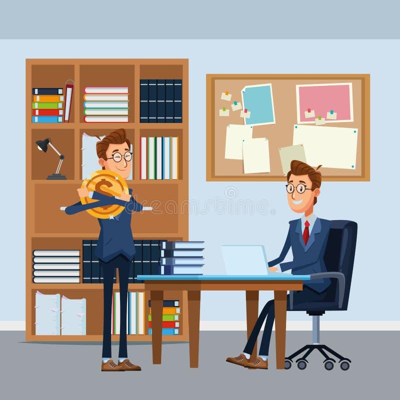 Οι επιχειρηματίες που κάθονται σε ένα γραφείο προεδρεύουν διανυσματική απεικόνιση
