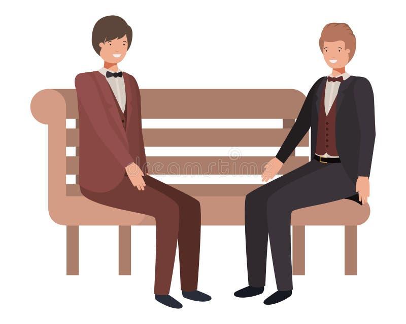 Οι επιχειρηματίες που κάθονται στο πάρκο προεδρεύουν του χαρακτήρα ειδώλων ελεύθερη απεικόνιση δικαιώματος