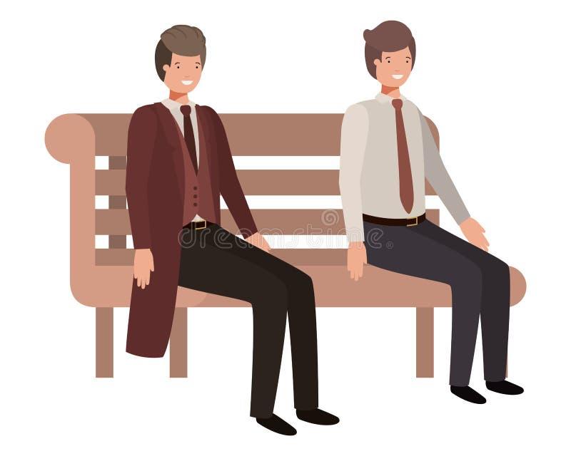 Οι επιχειρηματίες που κάθονται στο πάρκο προεδρεύουν του χαρακτήρα ειδώλων διανυσματική απεικόνιση