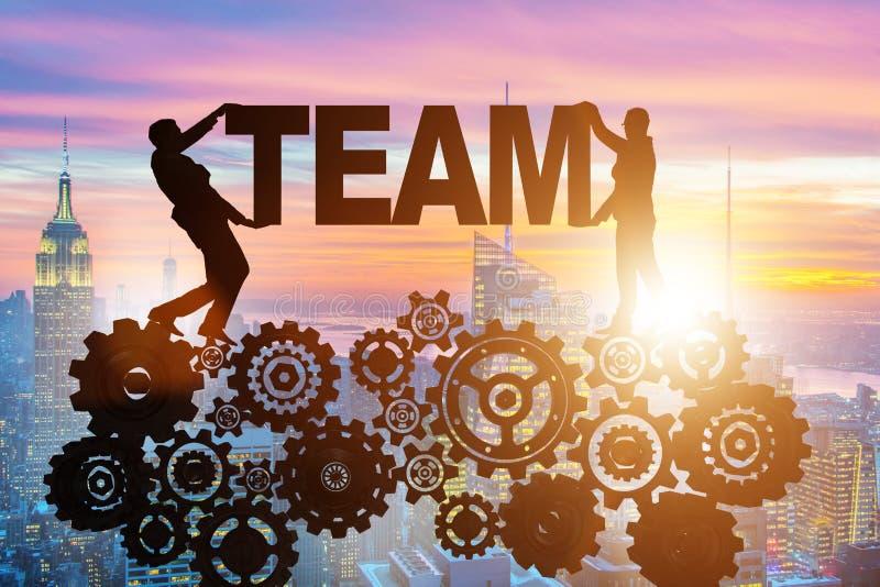 Οι επιχειρηματίες που κρατούν την ομάδα λέξης στην έννοια ομαδικής εργασίας διανυσματική απεικόνιση