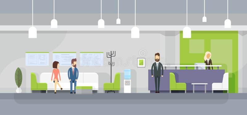 Οι επιχειρηματίες στον καναπέ, υποδοχή γραμματέων περιμένουν το εσωτερικό γραφείων MeetingModern διανυσματική απεικόνιση