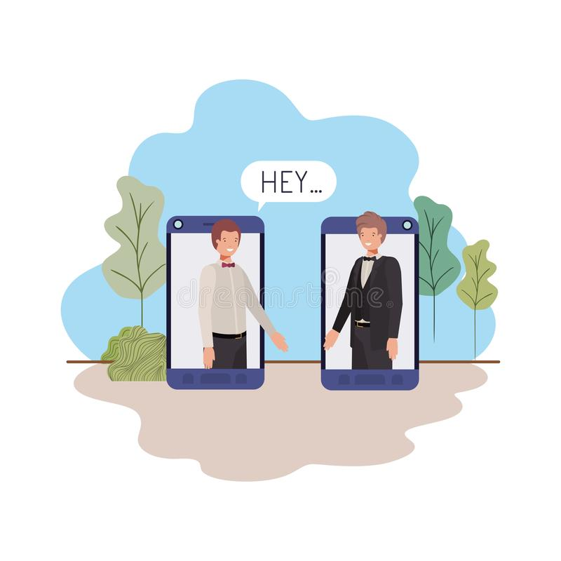 Οι επιχειρηματίες στο smartphone με την ομιλία βράζουν διανυσματική απεικόνιση