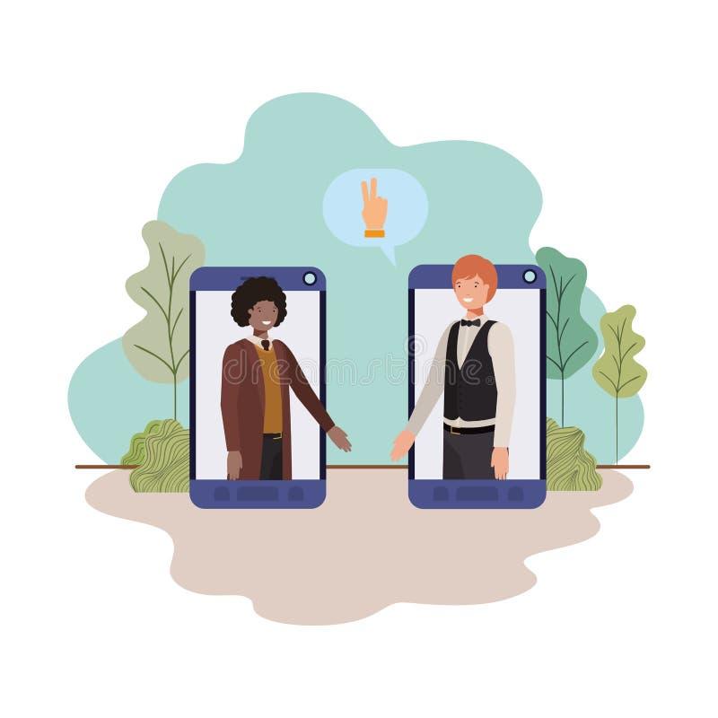 Οι επιχειρηματίες στο smartphone με την ομιλία βράζουν απεικόνιση αποθεμάτων