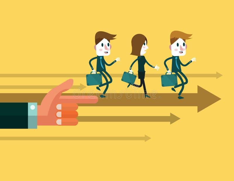 Οι επιχειρηματίες τρέχουν προς τα εμπρός, έλεγχος από το μεγάλο χέρι διανυσματική απεικόνιση