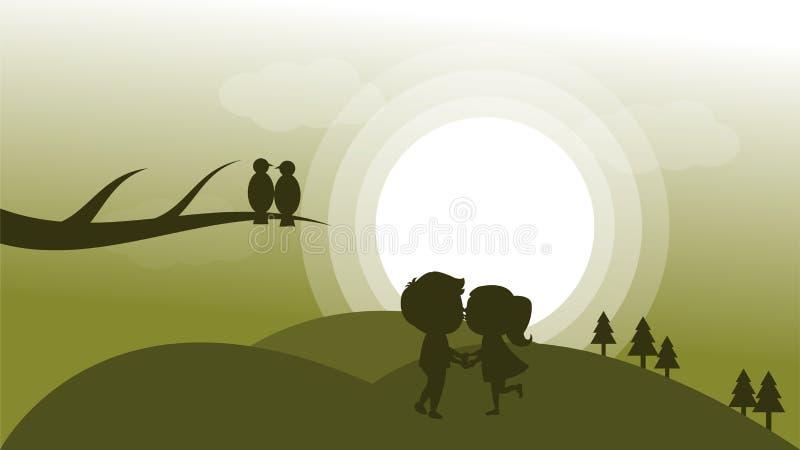 Οι εραστές πηγαίνουν στη διανυσματική απεικόνιση βουνών απεικόνιση αποθεμάτων