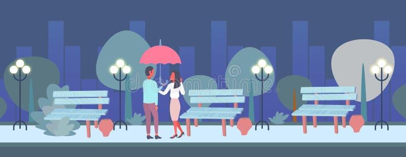 Οι εραστές συνδέουν κάτω από ομπρελών το οπισθοσκόπο ανδρών γυναικών ρομαντικό περπατήματος νύχτας πλήρες μήκος υποβάθρου εικονικ διανυσματική απεικόνιση