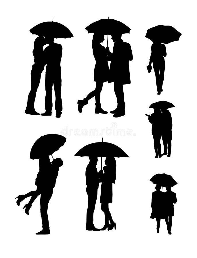 Οι εραστές χρησιμοποιούν τις σκιαγραφίες ομπρελών ελεύθερη απεικόνιση δικαιώματος