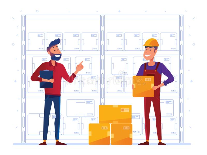 Οι εργαζόμενοι αποθηκών εμπορευμάτων αποθηκεύουν τα κιβώτια στο ράφι απεικόνιση αποθεμάτων