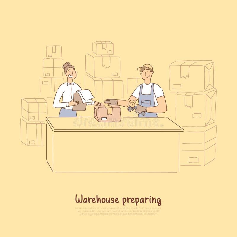 Οι εργαζόμενοι αποθηκών εμπορευμάτων που προετοιμάζουν τα προϊόντα για την αποστολή, επόπτης που ελέγχει τις διαταγές απαριθμούν, διανυσματική απεικόνιση