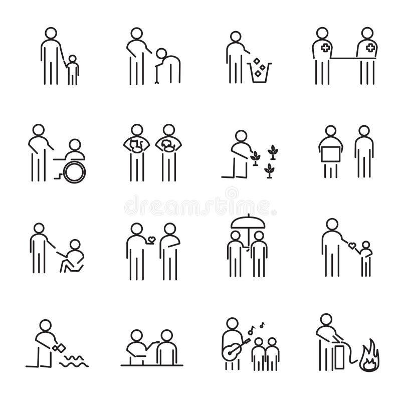 Οι εταιρικοί άνθρωποι κοινωνικής ευθύνης λεπταίνουν το καθορισμένο διάνυσμα εικονιδίων γραμμών διανυσματική απεικόνιση