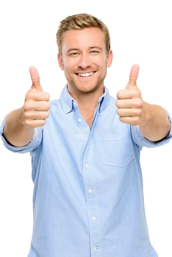 Οι ευτυχείς αντίχειρες ατόμων υπογράφουν επάνω το πλήρες πορτρέτο μήκους στο άσπρο υπόβαθρο στοκ εικόνα με δικαίωμα ελεύθερης χρήσης