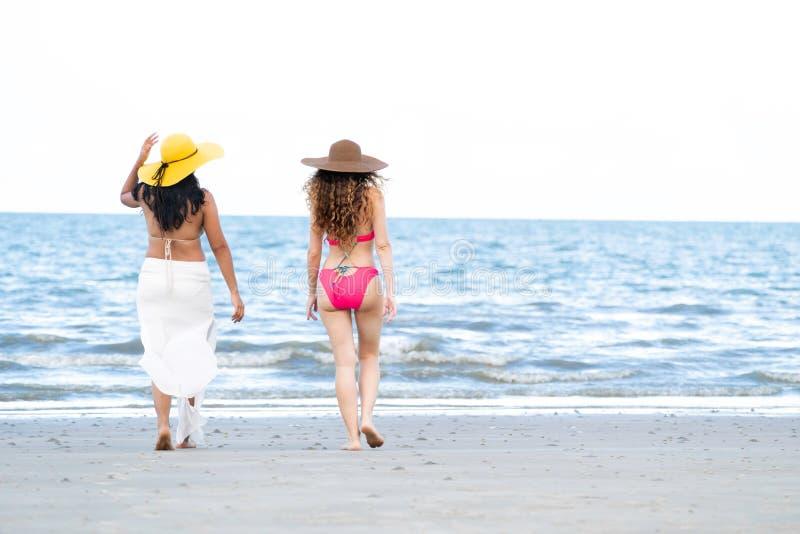 Οι ευτυχείς γυναίκες πηγαίνουν στην παραλία άμμου το καλοκαίρι στοκ εικόνες με δικαίωμα ελεύθερης χρήσης