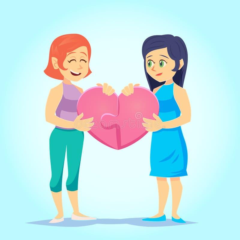 Οι ευτυχείς ομοφυλόφιλοι χαριτωμένοι ομοφυλοφιλικοί σύζυγοι που χαμογελούν τη νέα λεσβία γυναικών βάζουν στοργικά μαζί τον καρδιά ελεύθερη απεικόνιση δικαιώματος