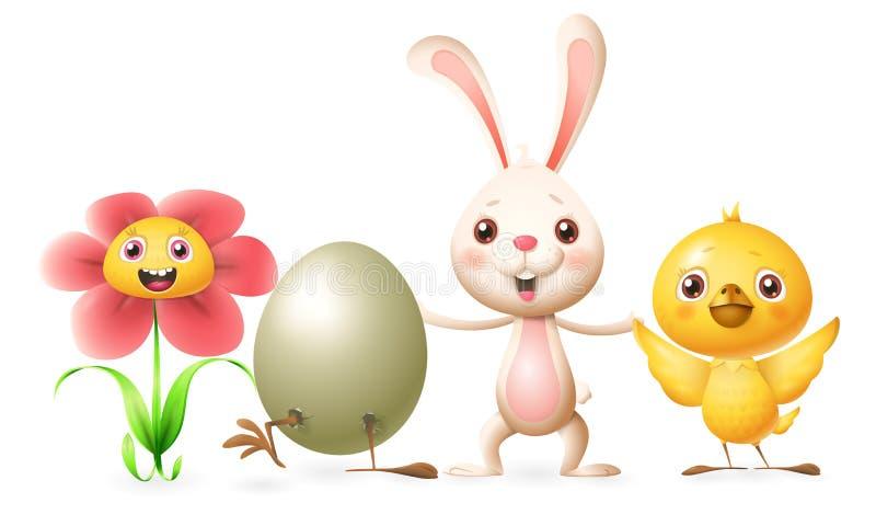 Οι ευτυχείς φίλοι γιορτάζουν την άνοιξη ή Πάσχα - ανθίστε, εκκολαμμένο αυγό, λαγουδάκι και κοτόπουλο - διανυσματικοί χαρακτήρες α απεικόνιση αποθεμάτων