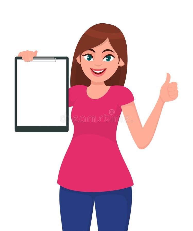 Οι ευτυχείς χαμογελώντας όμορφοι νέοι αντίχειρες χεριών γυναικών που κρατούν/που παρουσιάζουν κενή περιοχή αποκομμάτων και χειρον διανυσματική απεικόνιση