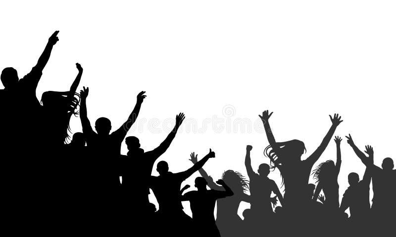 Οι εύθυμοι άνθρωποι συσσωρεύουν την επιδοκιμασία, διάνυσμα σκιαγραφιών Κόμμα, επιδοκιμασία Συναυλία χορού ανεμιστήρων, disco ελεύθερη απεικόνιση δικαιώματος