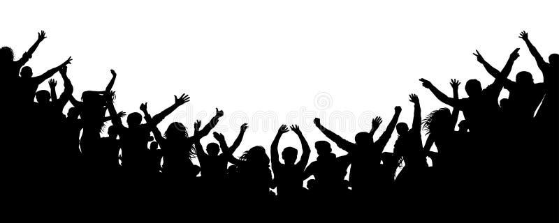 Οι εύθυμοι άνθρωποι συσσωρεύουν την επιδοκιμασία, σκιαγραφία Κόμμα, επιδοκιμασία Συναυλία χορού ανεμιστήρων, disco διανυσματική απεικόνιση