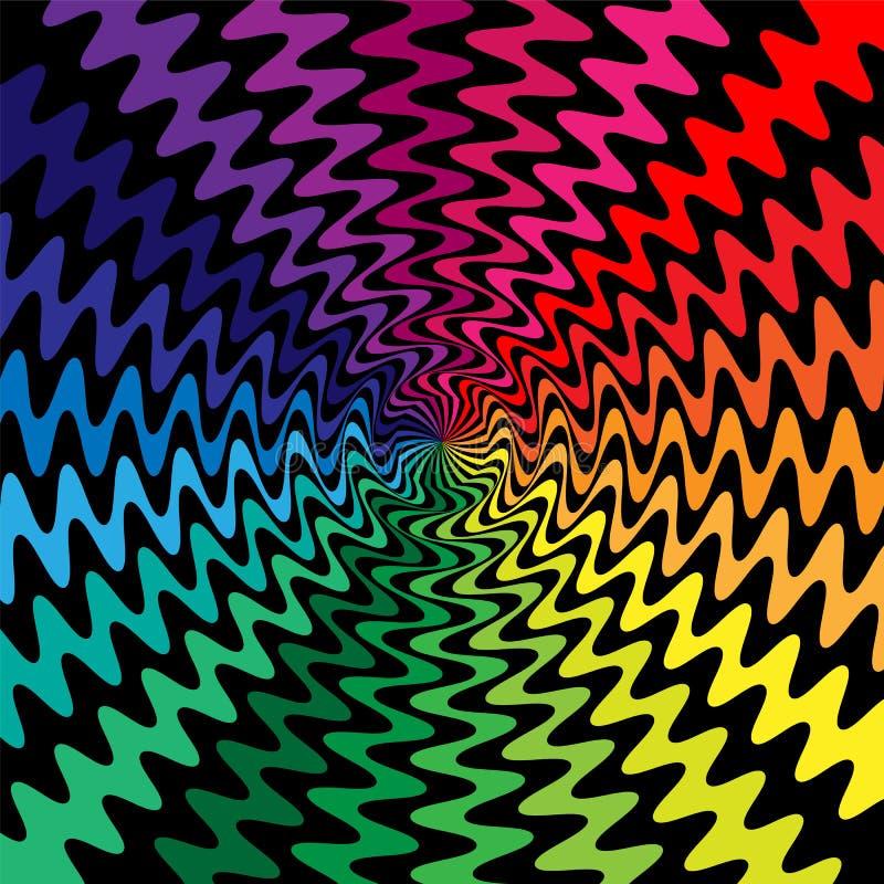 Οι ζωηρόχρωμες κυματιστές γραμμές κόβουν στο κέντρο Η οπτική παραίσθηση της μετακίνησης Κατάλληλος για το κλωστοϋφαντουργικό προϊ διανυσματική απεικόνιση