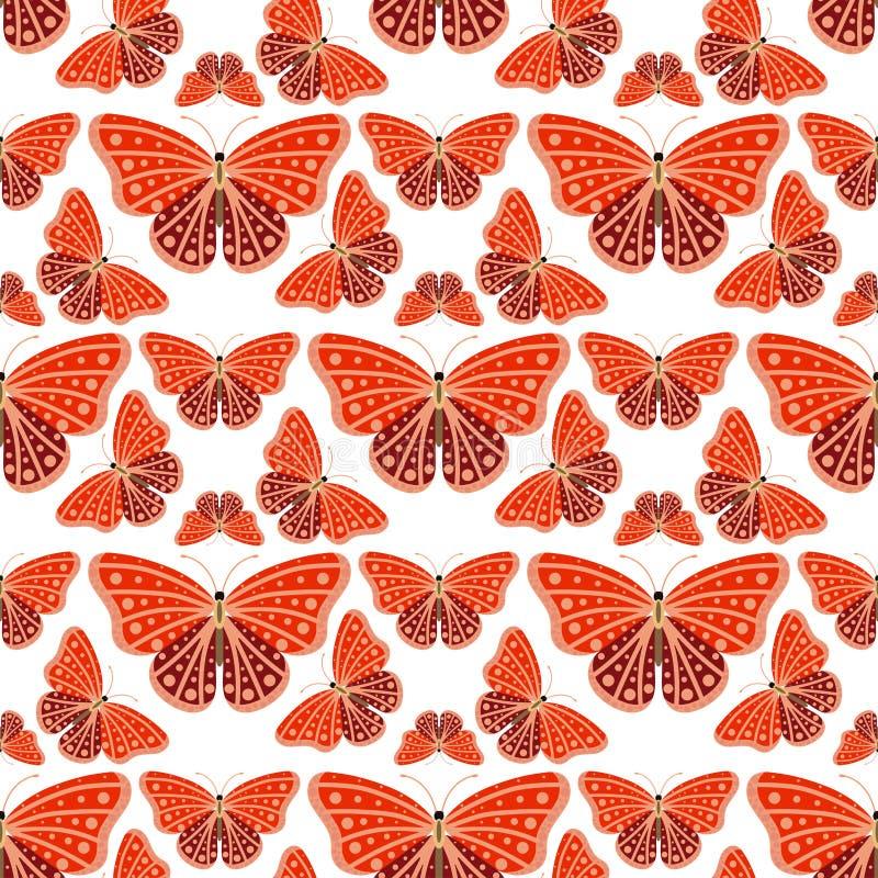 Οι ζωηρόχρωμες πεταλούδες με το αφηρημένο διακοσμητικό άνευ ραφής υπόβαθρο σχεδίων πετούν την παρούσα φύση σκιαγραφιών και ομορφι ελεύθερη απεικόνιση δικαιώματος