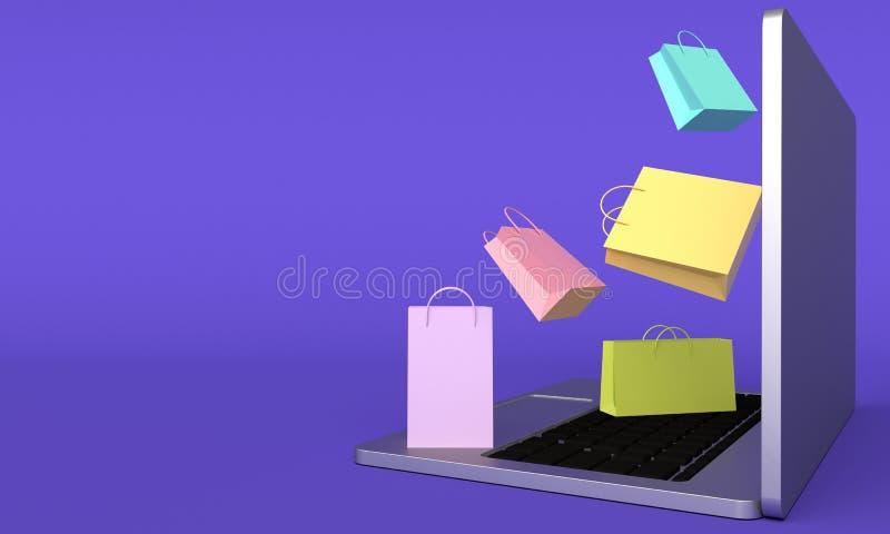 Οι ζωηρόχρωμες τσάντες αγορών πετούν από το lap-top r διανυσματική απεικόνιση