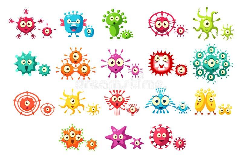 Οι ζωηρόχρωμοι χαρακτήρες κινουμένων σχεδίων βακτηριδίων θέτουν, χαριτωμένα μικρόβια με τις αστείες διανυσματικές απεικονίσεις πρ ελεύθερη απεικόνιση δικαιώματος