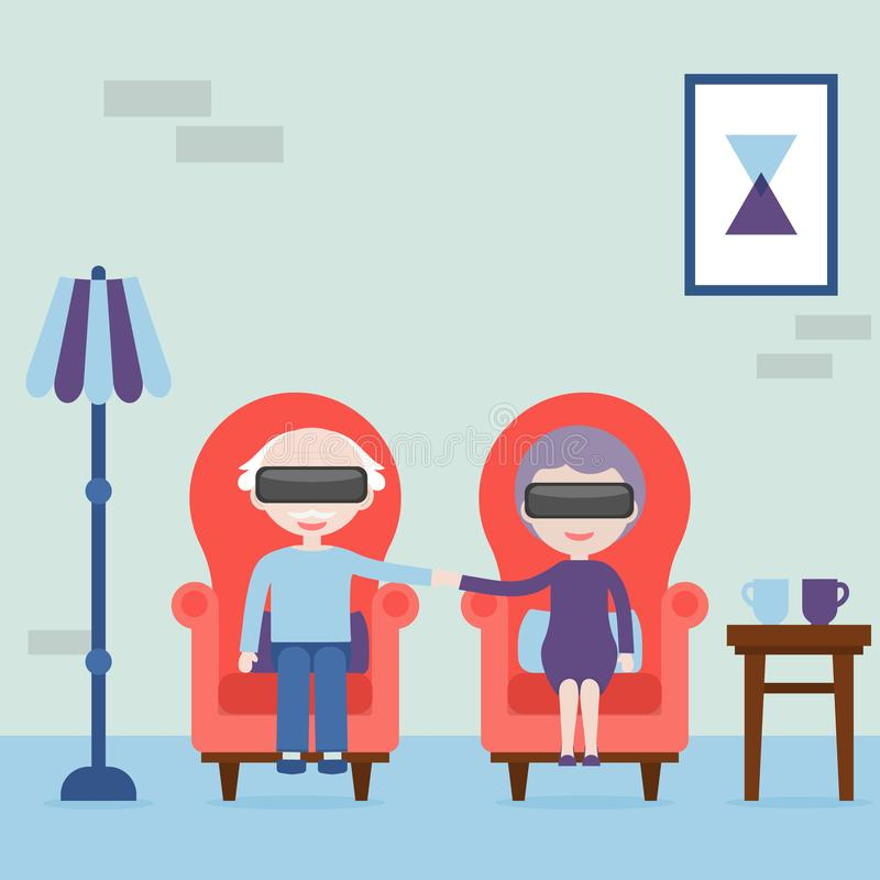 Οι ηλικιωμένοι αισθάνονται νέοι στην εικονική πραγματικότητα Γιαγιά και παππούς με την κάσκα εικονικής πραγματικότητας στο σπίτι  απεικόνιση αποθεμάτων