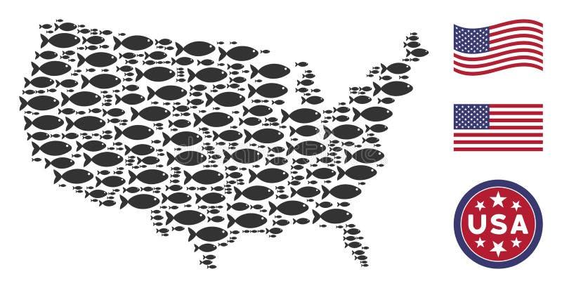 Οι Ηνωμένες Πολιτείες χαρτογραφούν τυποποιημένη σύνθεση των ψαριών ελεύθερη απεικόνιση δικαιώματος