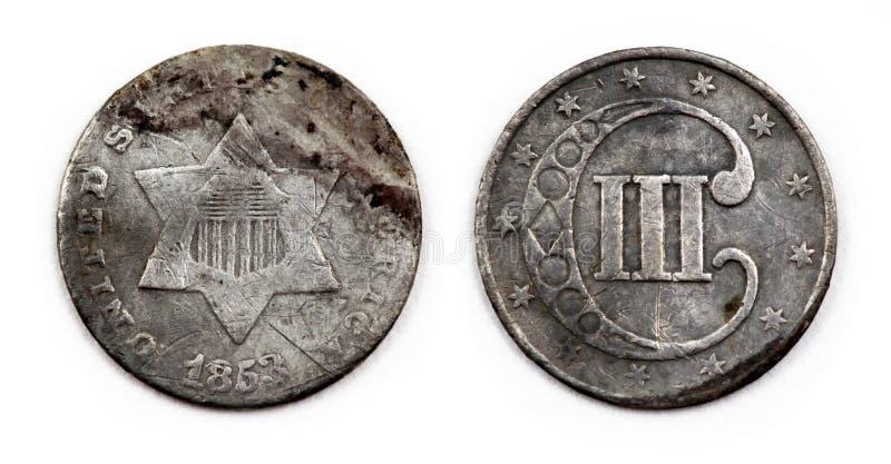 1853 οι Ηνωμένες Πολιτείες ασημώνουν το νόμισμα 3 σεντ στοκ φωτογραφία με δικαίωμα ελεύθερης χρήσης