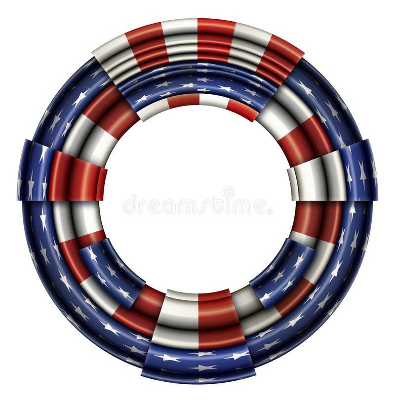 Οι Ηνωμένες Πολιτείες σημαιοστολίζουν το κυκλικό πλαίσιο απεικόνιση αποθεμάτων
